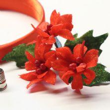 Vintage Red Velvet Ponsettia Millinery Blossoms